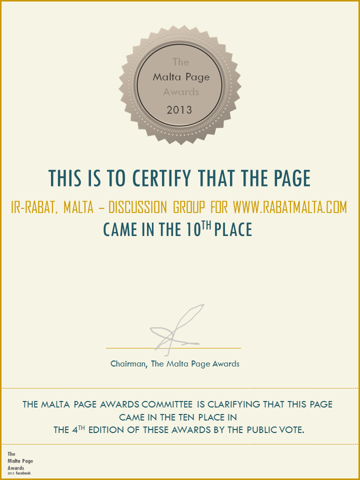 The Malta Page Awards 2013 - 10th Place - Digital Certificate